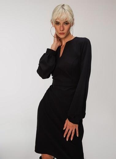 People By Fabrika Krep Elbise Siyah